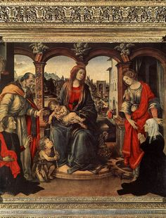 Madonna with Child and Saints by Filippino Lippi, Oil on wood