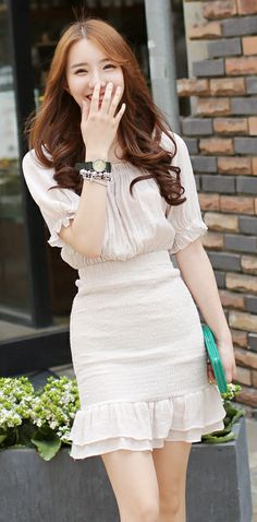 [Luxe Asian Women Dresses Fashion Style Korean Model Fashion Clothing] Pink mood Dress