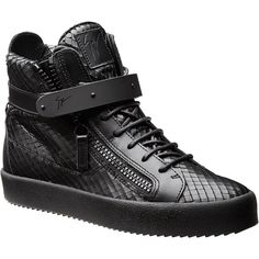 Snakeskin Embossed High-Tops ($800) ❤ liked on Polyvore featuring men's fashion, men's shoes and men's sneakers