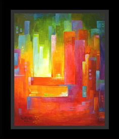 Abstract Modern Original Painting Cubism Acrylic on canvas Transparent City…