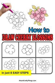 Cherry Blossom Drawing, Step Guide, Pretty In Pink, Pink Flowers, Beautiful Flowers, Doodles, Crafty, Drawings, Ideas