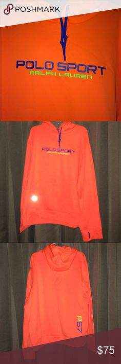 Polo Sport Performance Hoodie Neon orange and blue drawstring hoodie with front pocket & sleeve thumb hole. (small snag on front pocket) **EUC** Polo by Ralph Lauren Shirts Sweatshirts & Hoodies