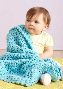 Yarn Weight: (5) Bulky/Chunky (12-15 stitches for 4 inches)  SIZE About 28 x 30 in. (71 x 76 cm)  MATERIALS      LION BRAND® BABY'S FIRST™ (Art. #925)      #146 Sea Sprite 5 balls or color of your choice