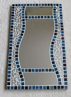 Made by seller Made on MDF Backer board using Vitreous glass mosaic tiles. All colours as the pictures. Finished with white grout and black edge band. Mosaic tiles are Main mirror high x Ready to hang . Mosaic Tile Art, Mirror Mosaic, Diy Mirror, Mosaic Glass, Fused Glass, Painting Corner, Mosaic Projects, Mosaic Ideas, Stained Glass Art