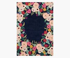 From the Rifle Paper Co. × Loloi collection, our Juliet Rose Wreath rug features a host of our signature blooms. The style is part of our Les Fleurs collection, which is crafted by artisans in India of soft, 100% wool with hand-carved details on the florals for added dimension. Nebraska, Indigo, Rifle Paper Company, Rug Hooking, Wool Yarn, Icon Design, Cotton Canvas, Decoration, Rose