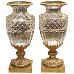 Pair of Baccarat Vases with Gilt Bronze Mounts  