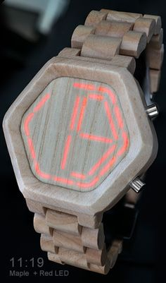 Maple wooden watch with LED