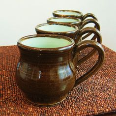 Pottery Mugs in Chocolate Mint  Set of 4 Stoneware by KarinLorenc