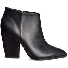 H&M Ankle boots with a heel (€14) ❤ liked on Polyvore featuring shoes, boots, ankle booties, ankle boots, h&m, pointy boots, black, pointed toe booties, high heel bootie and black high heel boots