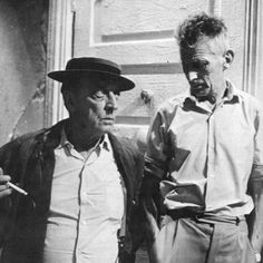 """keyframedaily: """"Buster Keaton and Samuel Beckett on the set of Film (1965). """""""