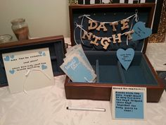 """Bridal shower activity and fun gift! Found a vintage jewelry box and turned it into a """"date night ideas"""" box from friends and family!"""