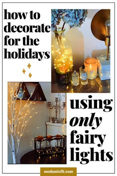 Decorate for the holidays with only fairy lights - Studio Apartment Rustic Fall Decor, Boho Decor, Dorm Decorations, Light Decorations, Black Painted Walls, Studio Apartment Decorating, Living Room Art, Fairy Lights, Furniture Decor