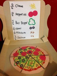 Fractions pizza Fraction Activities, Math Resources, Math Activities, Math Games, Math Fractions, Dividing Fractions, Equivalent Fractions, Fourth Grade Math, First Grade Math