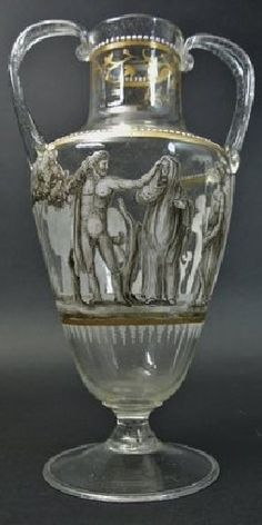 19TH CENTURY LOBMEYR STYLE ENAMELED GLASS VASE