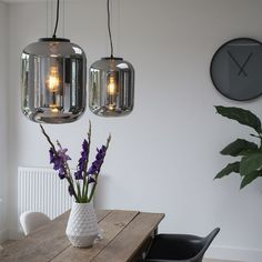 Set of 2 Pendant Lamp Bliss Black with Smoke Shade Bliss, Modern Ceiling, Black Lamps, Lampe Led, Pendant Lamp, Glass Shades, Home And Living, Floor Lamp, Light Bulb