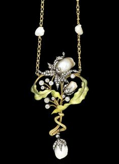 An art nouveau gold, enamel, pearl and diamond necklace, by Guillemin Frères, circa 1905. | © Bonhams 2001-2014
