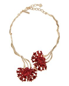 Swarovski® Enamel Carnation Collar Necklace, Ruby