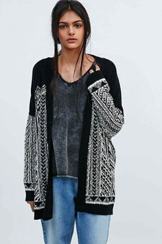 Staring at Stars Panelled Cardigan in Mono - Urban Outfitters