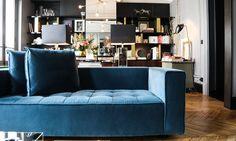 Salon Canapé Bleu Appartement Paris David Chaplain et Alexandre Roussard