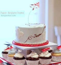 jason's cake and cupcakes paper airplane theme #paperairplane #birthdayparty