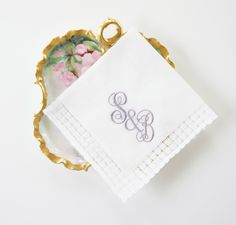 NEW Bride and Groom Initials Monogram Design for Handkerchiefs, Embroidered Wedding Linens, Bridal Party Gifts