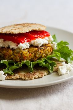 Curry spiced lentil rice veggie burger