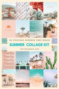 Wall Collage Kit Printable Summer Vibes 100 downloadable   Etsy Summer Aesthetic, Blue Aesthetic, Open Source Images, Photoshop Me, Aesthetic Room Decor, Teen Room Decor, Dorm Decorations, Wall Collage, As You Like