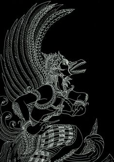 Maha Garuda by reidge on DeviantArt Jewellery Sketches, Jewelry Sketch, Doodle, Leaf Art, Urban Photography, Character Drawing, Mythical Creatures, Traditional Tattoo, Art Forms