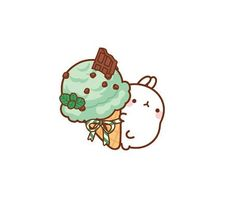 Molang with mint chocolate chip ice cream