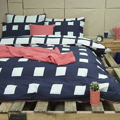 Intensify your bedroom style with the vibrant clash of colours across the cotton Tempy Quilt Cover Set, Navy from Ardor. Quilt Cover Sets, Retro Home, Cotton Quilts, Bedroom Styles, Bed Sheets, Duvet, Comforters, Colours, Blanket