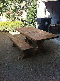 farmhouse table and bench, painted furniture, woodworking projects, Farmhouse table and bench