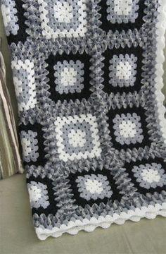 acrylic hand crocheted blanket in classic black white and grey combo Crochet Bla. acrylic hand crocheted blanket in classic black white and grey combo Crochet Blanket Black And Whit Granny Square Häkelanleitung, Granny Square Crochet Pattern, Crochet Squares, Crochet Granny, Hand Crochet, Free Crochet, Crochet Afghans, Crochet Blanket Patterns, Baby Blanket Crochet