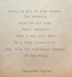Typewriter Poem The Dream Keeper + Portrait Langston Hughes Original Life Poem…
