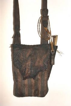 Ticking Pouch With Deer Skin Flap Knife And Measure Attached Jerry Midkiff Leather Possible Bags
