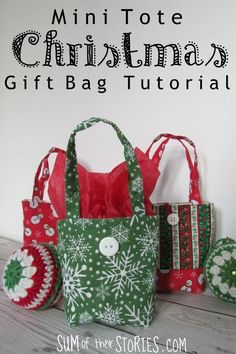 How to make sweet little reusable gift bags for Christmas Mini tote Christmas gift bag tutorial Christmas Sewing, Christmas Bags, Christmas Crafts, Christmas Bunting, Xmas, Christmas Fabric, Christmas Ideas, Homemade Gift Bags, Mini Gift Bags