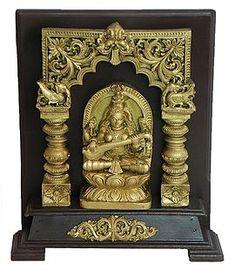Goddess Saraswati (Stone Dust and Wood) Saraswati Statue, Saraswati Goddess, Stone Sculpture, Gods And Goddesses, Ganesha, Wood, Poster, Art, Art Background
