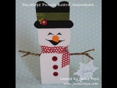 This video shows how to make a snowman table favour using the envelope punch board. For more papercrafting ideas visit my blog: www.jackietopa.com