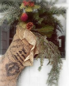 Burlap Stocking With Lace...stuffed with pine.