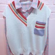 4321bdcc92 Free Shipping Cute Vest Sweater Plaid Shirt Two-piece Suit SE20054