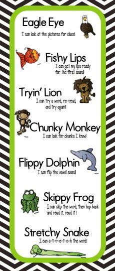 Bookmarks for Decoding Strategies http://www.teacherspayteachers.com/Product/Beanie-Babies-Strategies-for-Reading-628182