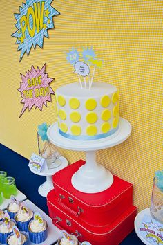 Superhero party -- love the colors and cake