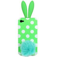 OMG so cute. Green polka dot bunny iphone 4 case
