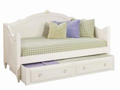 Daybeds For Girls Cozy White Wooden Curved Beds For Sale Top Headboard Furniture Having Green Square Mattress And Slide Storage Trundle, Innovative Eye Catching White Wooden Daybed With Sweet Theme: Furniture