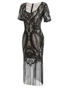 Short Sleeve V Neck Vintage Styles Lace Patchwork Fringe Party Dress – Sheinchic.com