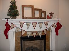 Merry Christmas pennants made out of felt and burlap...