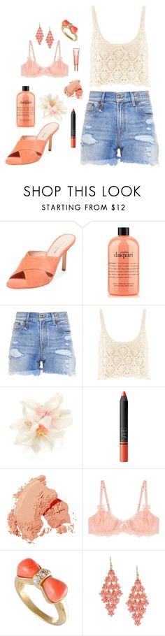 """""""Coral and Peach"""" by miss-a-belle ❤ liked on Polyvore featuring Charles David, philosophy, R13, H&M, Accessorize, NARS Cosmetics, Bobbi Brown Cosmetics, L'Agent By Agent Provocateur, Design Lab and Clarins"""