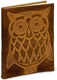 "Owl Embossed Tan Italian Leather Journal (6"" x 8"")"