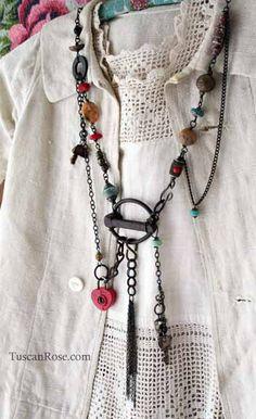 ON SALE - Heart Shaped Lock - urban Gypsy Talisman Necklace. $68,00, via Etsy.