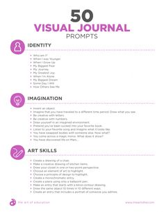 Art Sketchbook Drawing Artists 50 Visual Journal Prompts to Promote Drawing and Creative Thinking Skills - The Art of Ed Sketchbook Prompts, Sketchbook Assignments, Journal Writing Prompts, Art Prompts, Art Sketchbook, Art Journals, Visual Journals, Drawing Challenge, Art Challenge