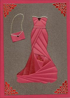 This Dressy Iris Folding Pattern is a great card making idea. Use iris folding for your next paper craft! Iris Folding Templates, Iris Paper Folding, Iris Folding Pattern, Paper Cards, Folded Cards, Inchies, Dress Card, Creative Cards, Paper Piecing